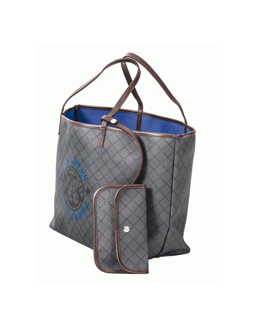 sac shopping anthracite bleu en toile enduite sac l gant et raffin. Black Bedroom Furniture Sets. Home Design Ideas