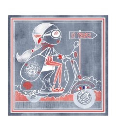 EN VESPA-denim +rouge
