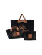 ensemble sac +pochette noir voile cuir